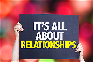 "Schild ""It´s all about relationships"""